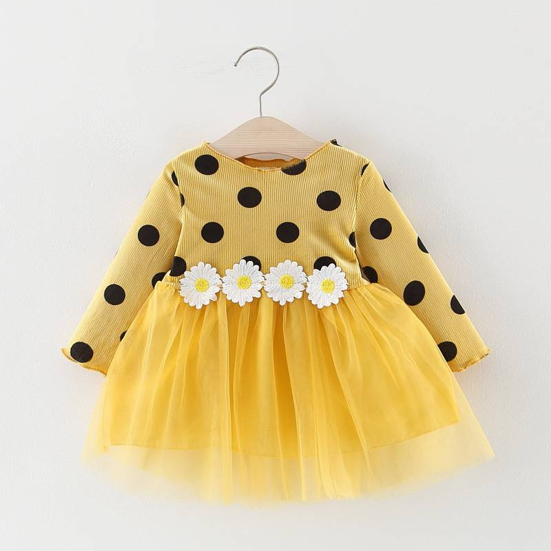 Girl's Polka Dot Dress with Daisy Appliques
